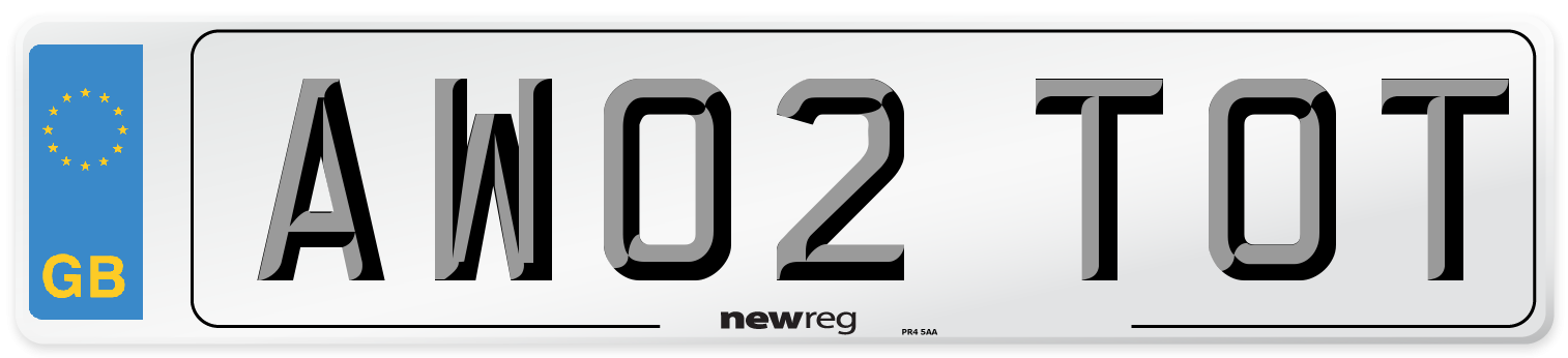 AW02 TOT Number Plate from New Reg