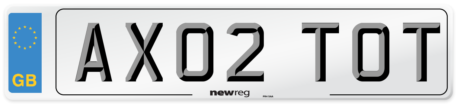 AX02 TOT Number Plate from New Reg