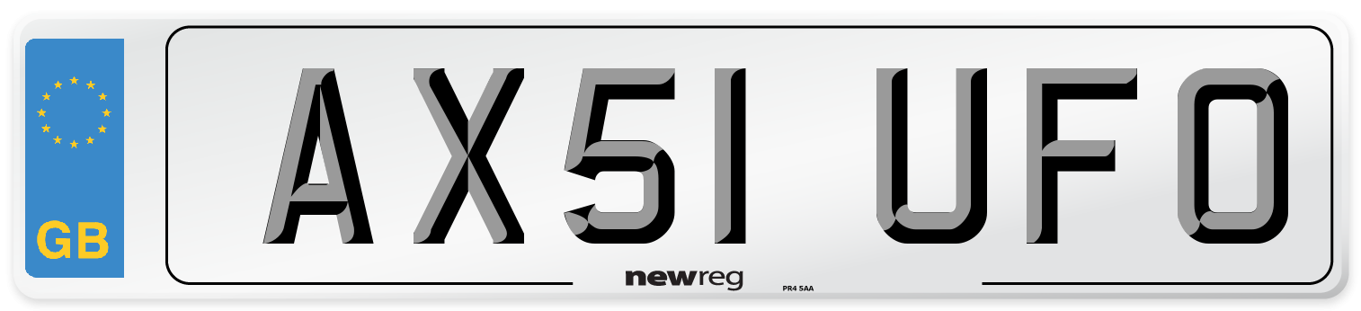 AX51 UFO Number Plate from New Reg