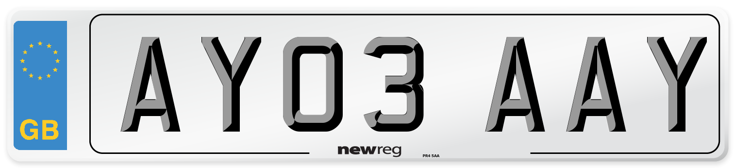 AY03 AAY Number Plate from New Reg