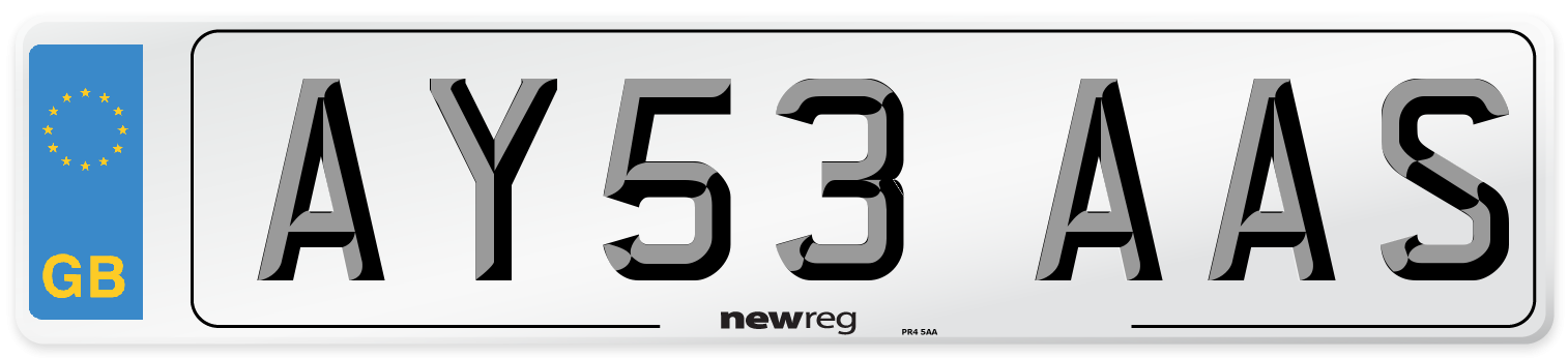 AY53 AAS Number Plate from New Reg