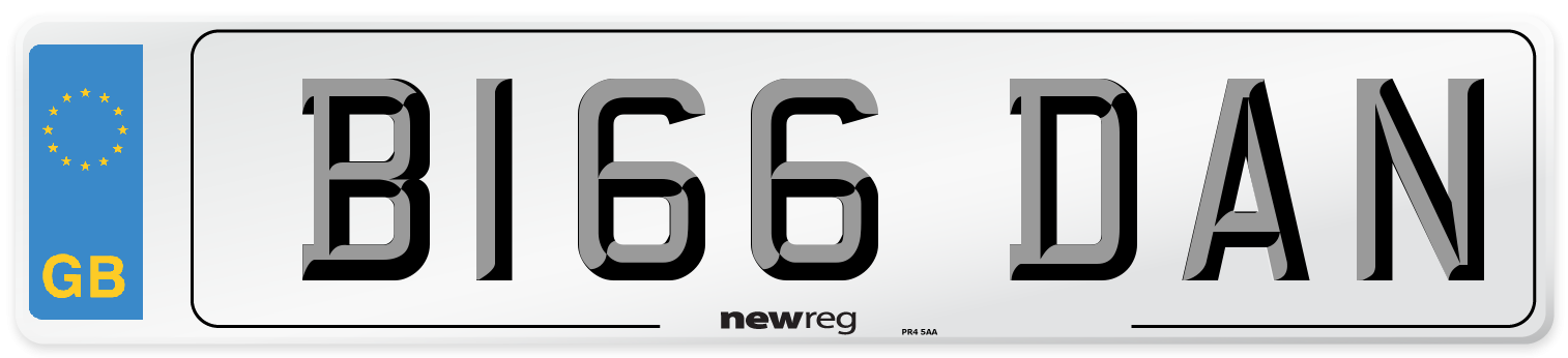B166 DAN Number Plate from New Reg