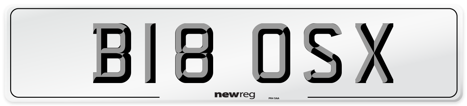 B18 OSX Number Plate from New Reg