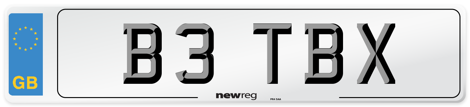 B3 TBX Number Plate from New Reg