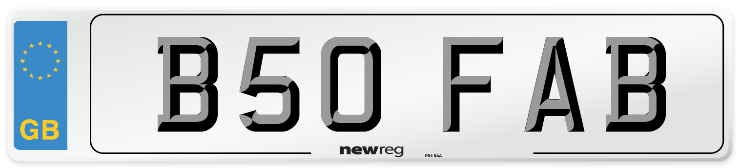 B50 FAB Number Plate from New Reg