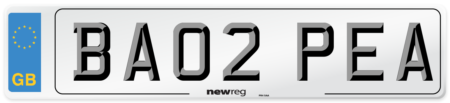 BA02 PEA Number Plate from New Reg