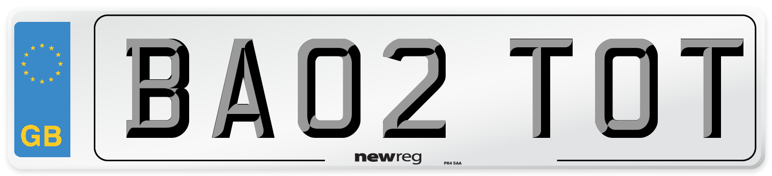 BA02 TOT Number Plate from New Reg