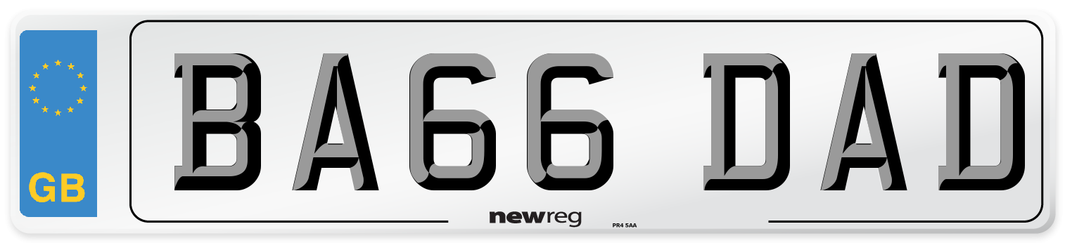 BA66 DAD Number Plate from New Reg
