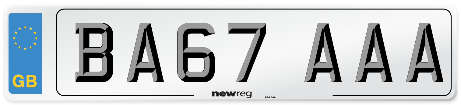 BA67 AAA Number Plate from New Reg