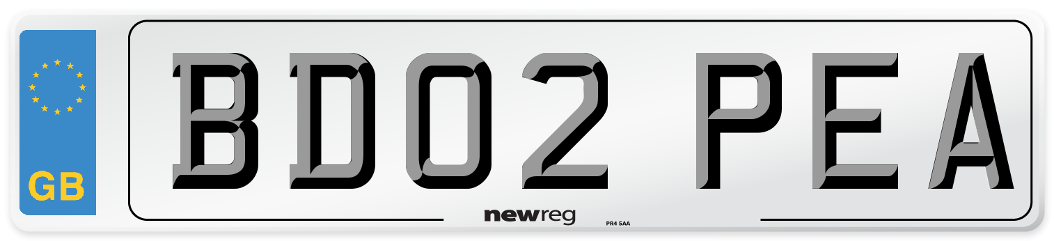 BD02 PEA Number Plate from New Reg