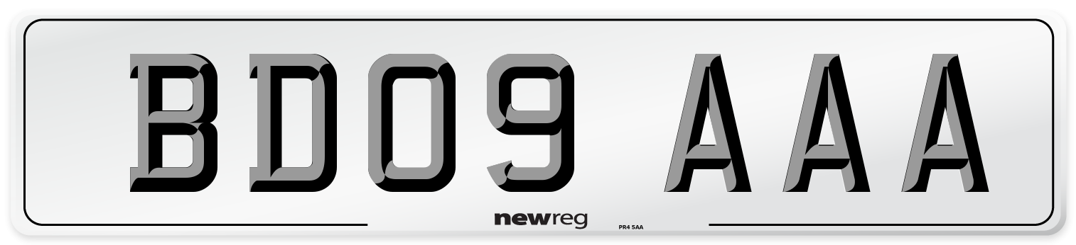 BD09 AAA Number Plate from New Reg
