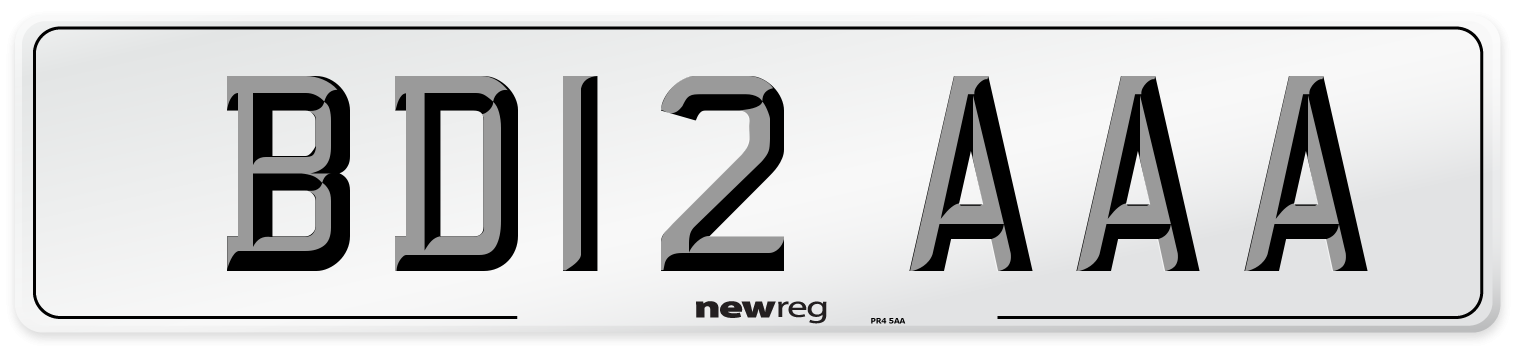 BD12 AAA Number Plate from New Reg