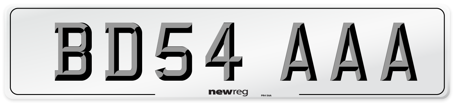 BD54 AAA Number Plate from New Reg