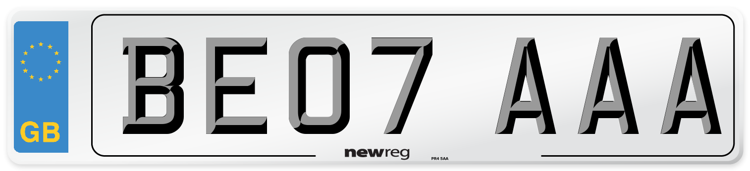 BE07 AAA Number Plate from New Reg
