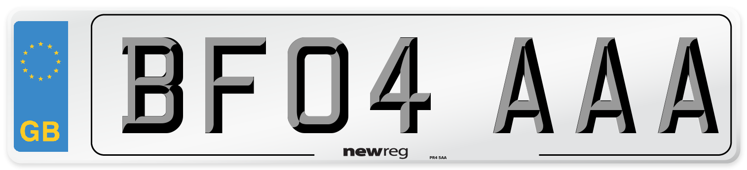 BF04 AAA Number Plate from New Reg