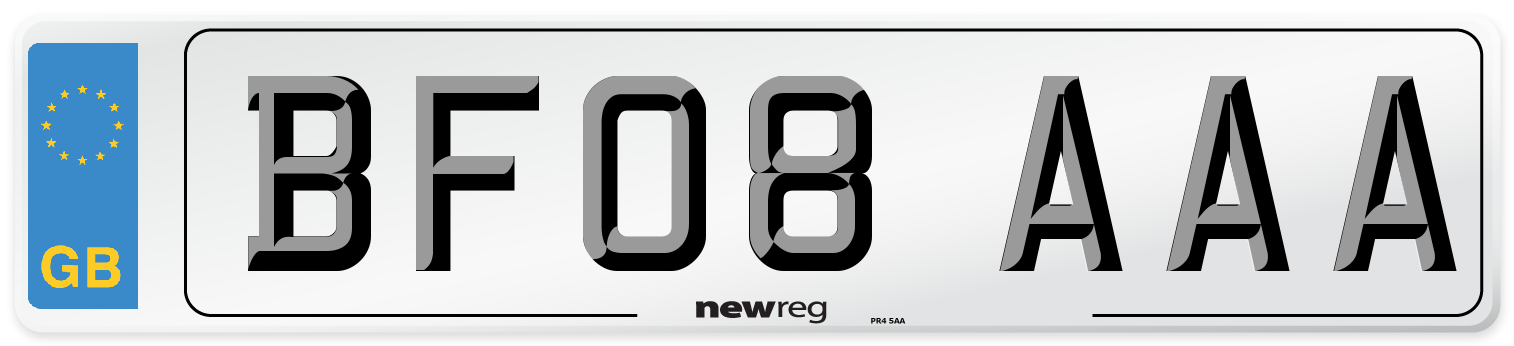 BF08 AAA Number Plate from New Reg