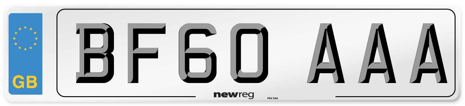 BF60 AAA Number Plate from New Reg