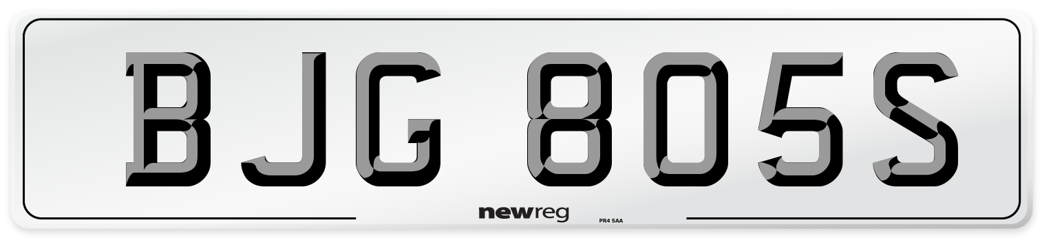BJG 805S Number Plate from New Reg