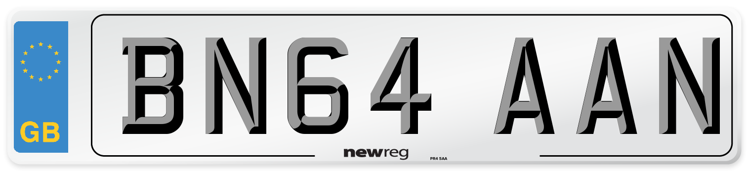 BN64 AAN Number Plate from New Reg