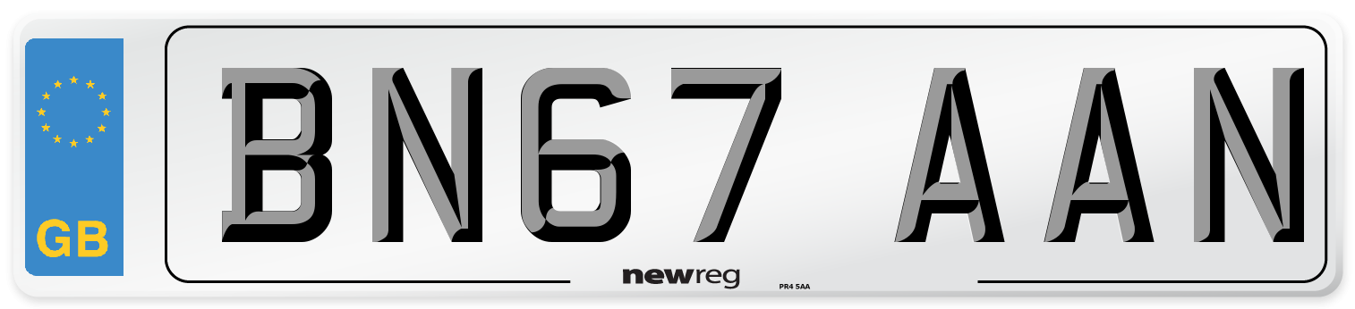 BN67 AAN Number Plate from New Reg