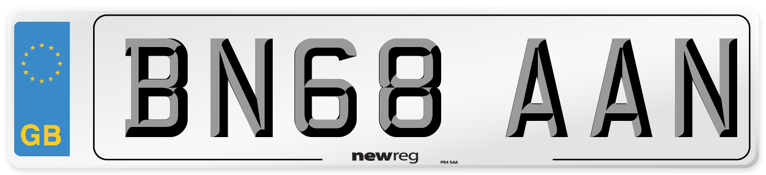 BN68 AAN Number Plate from New Reg