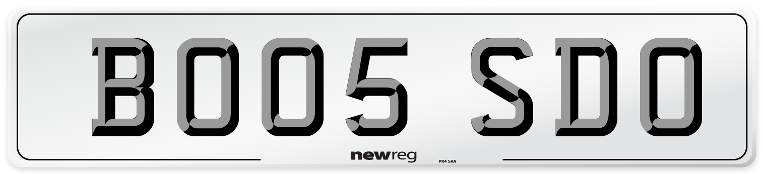 BO05 SDO Number Plate from New Reg