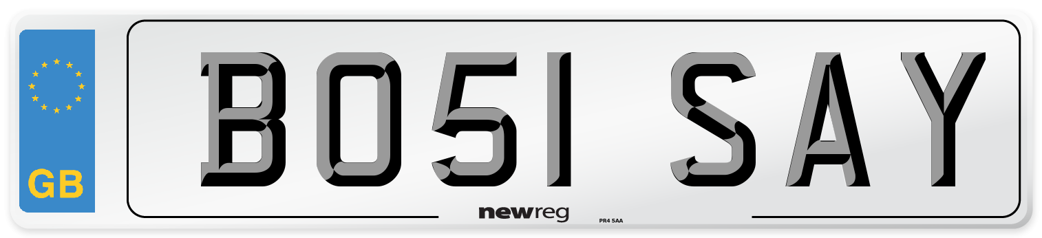 BO51 SAY Number Plate from New Reg
