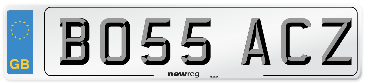 BO55 ACZ Number Plate from New Reg