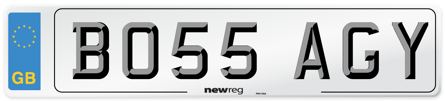 BO55 AGY Number Plate from New Reg