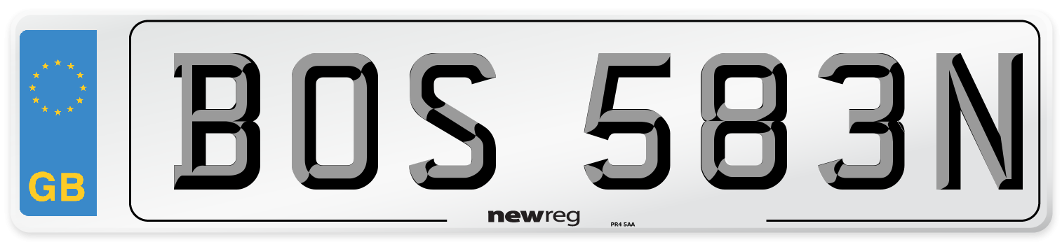 BOS 583N Number Plate from New Reg
