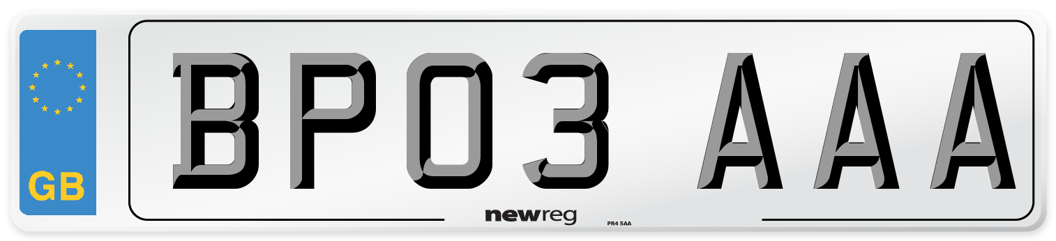 BP03 AAA Number Plate from New Reg