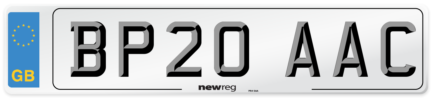 BP20 AAC Number Plate from New Reg