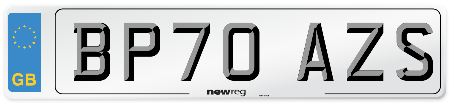 BP70 AZS Number Plate from New Reg