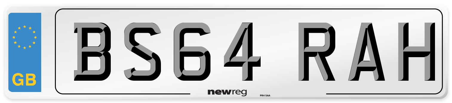 BS64 RAH Number Plate from New Reg