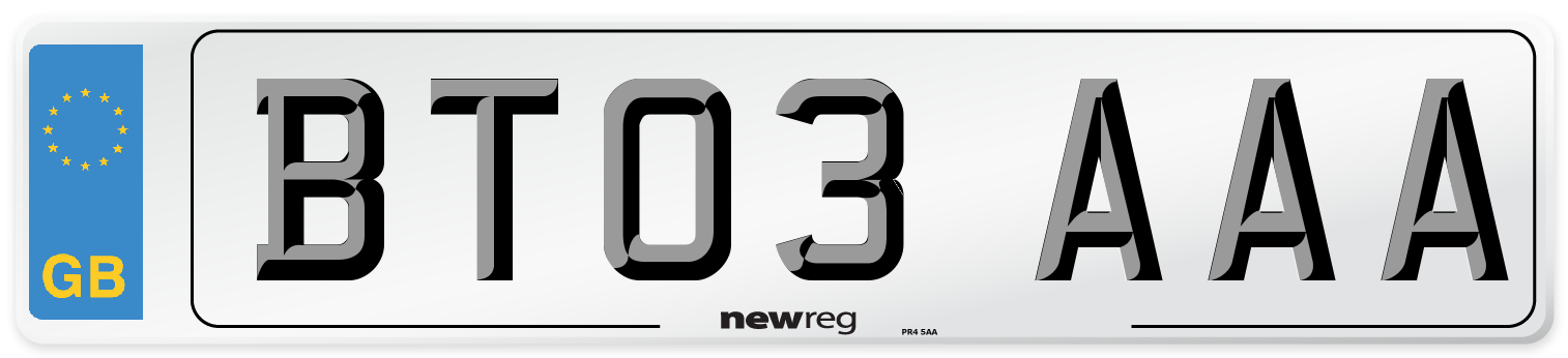 BT03 AAA Number Plate from New Reg
