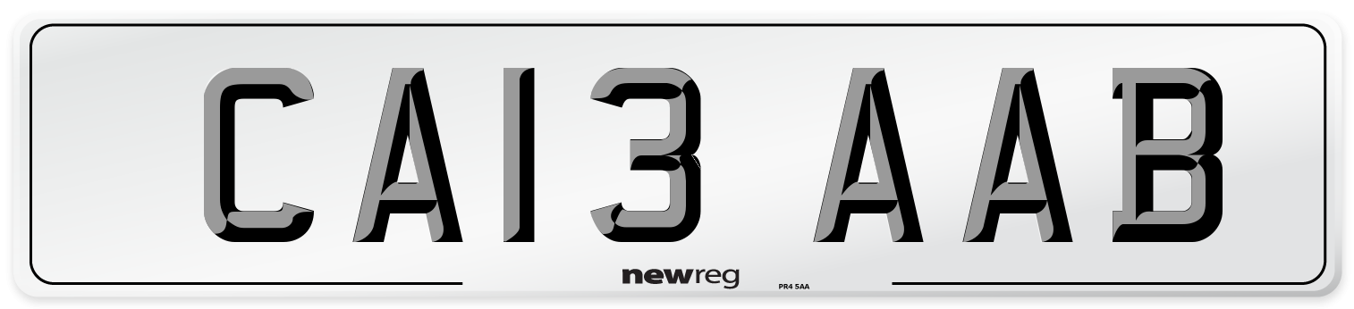 CA13 AAB Number Plate from New Reg