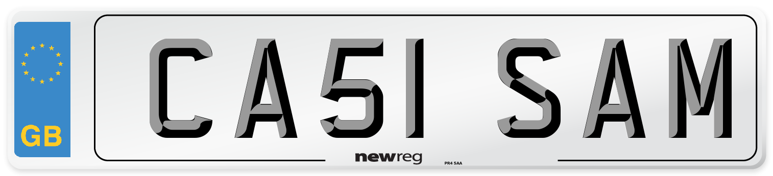 CA51 SAM Number Plate from New Reg