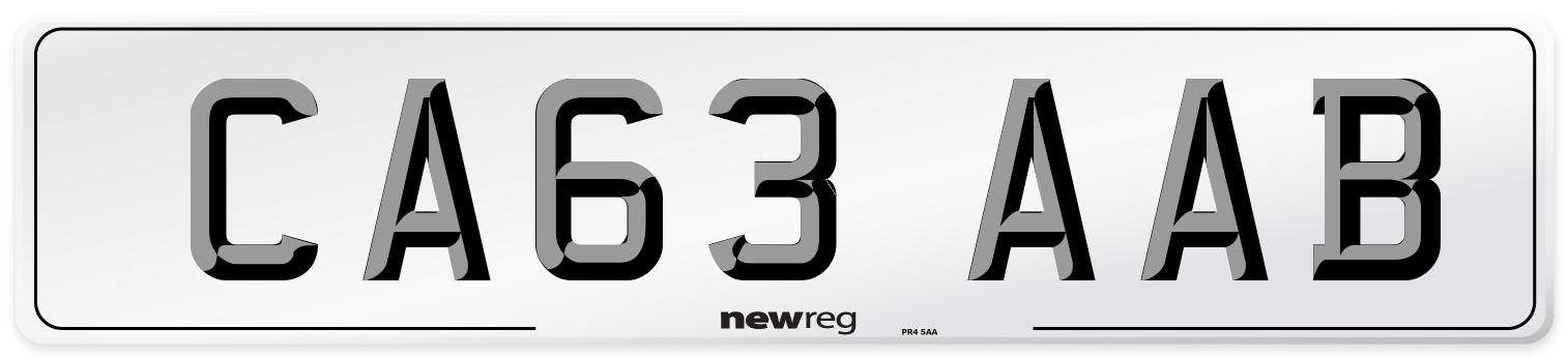 CA63 AAB Number Plate from New Reg
