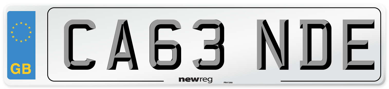 CA63 NDE Number Plate from New Reg