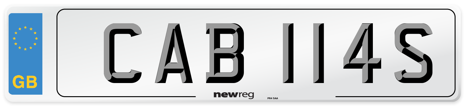 CAB 114S Number Plate from New Reg