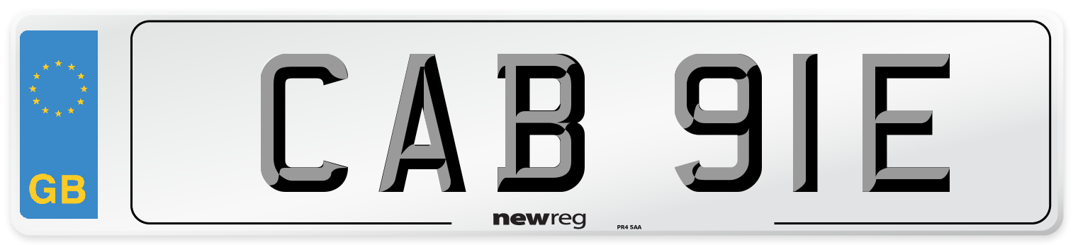 CAB 91E Number Plate from New Reg