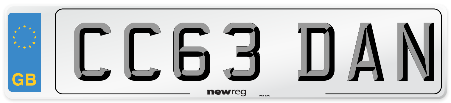 CC63 DAN Number Plate from New Reg