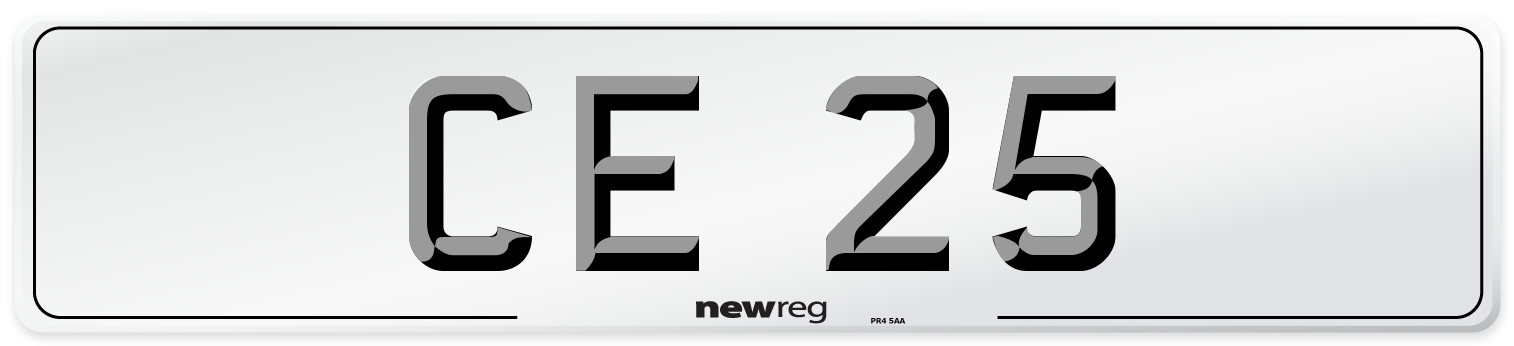 CE 25 Number Plate from New Reg