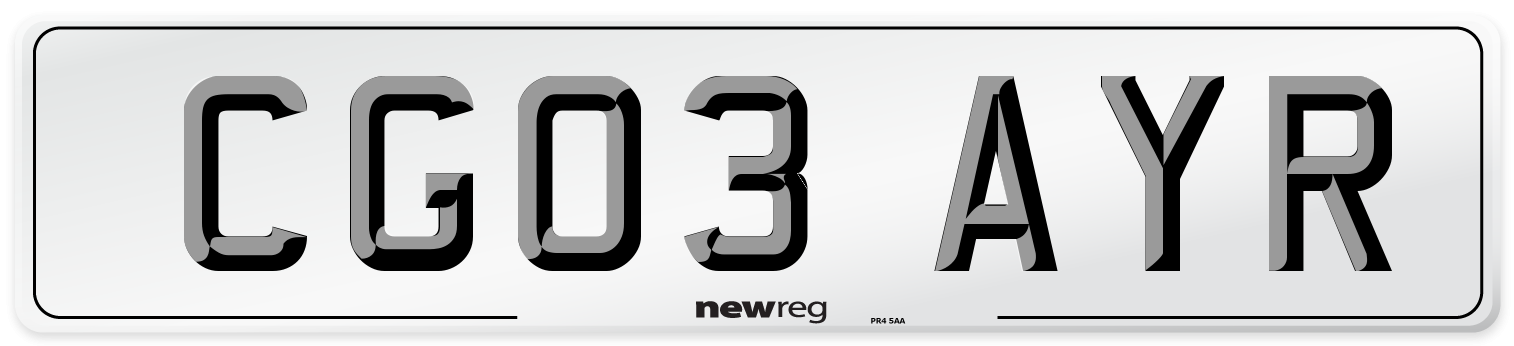 CG03 AYR Number Plate from New Reg