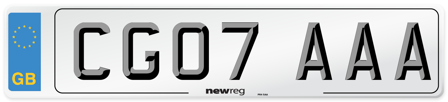 CG07 AAA Number Plate from New Reg