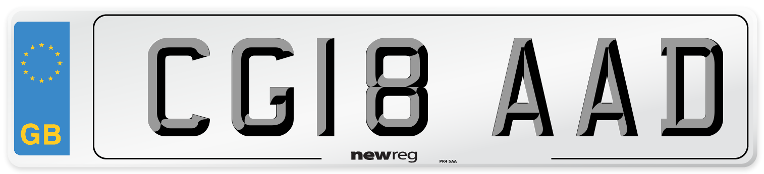 CG18 AAD Number Plate from New Reg