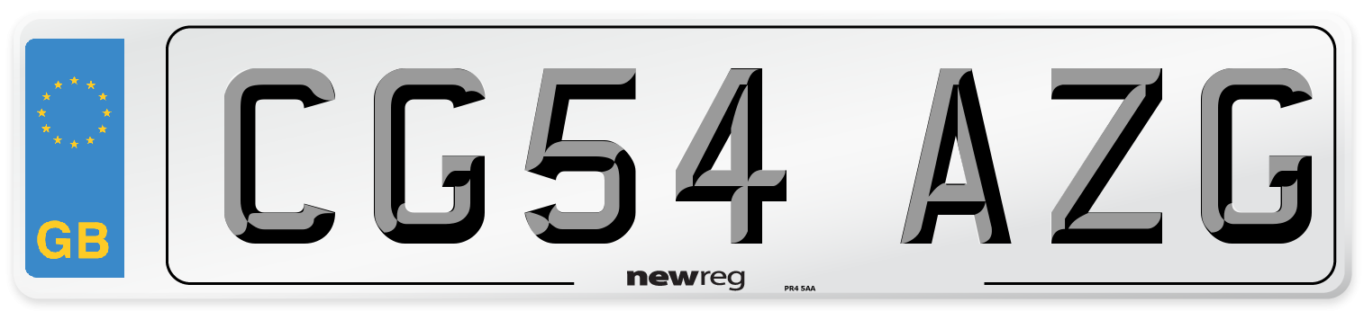 CG54 AZG Number Plate from New Reg