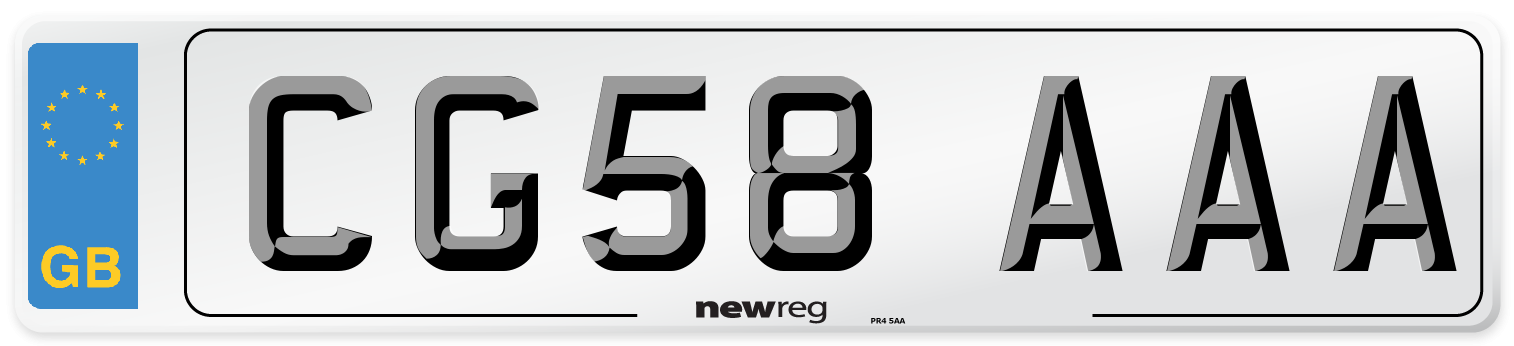 CG58 AAA Number Plate from New Reg
