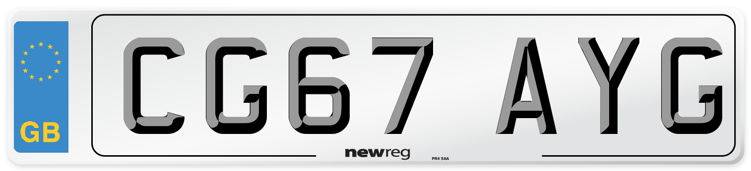 CG67 AYG Number Plate from New Reg