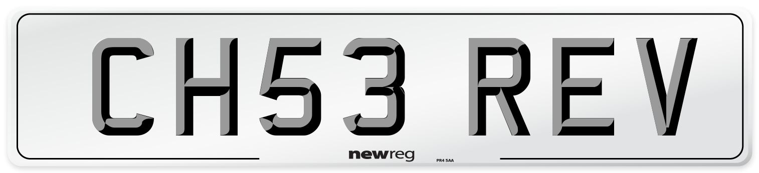 CH53 REV Number Plate from New Reg